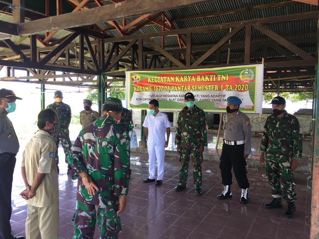 Sinergitas TNI POLRI bersama Puskesmas Pantar Dalam Upaya Pencegahan Penyebaran Covid-19
